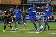 AFC Wimbledon defender Paul Kalambayi (30) dribbling in the box during the EFL Trophy (Leasing.com) match between AFC Wimbledon and U23 Brighton and Hove Albion at the Cherry Red Records Stadium, Kingston, England on 3 September 2019.