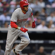 Billy Hamilton, Cincinnati Reds, sets off from home plate but watches his hit go straight to Mark Teixeira for the out  during the New York Yankees Vs Cincinnati Reds baseball game at Yankee Stadium, The Bronx, New York. 18th July 2014. Photo Tim Clayton