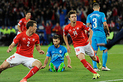 05.09.2015, St. Jakob Park, Basel, SUI, UEFA Euro 2016 Qualifikation, Schweiz vs Slowenien, Gruppe E, im Bild Valentin Stocker (SUI, right) scores 2:2 // during the UEFA EURO 2016 qualifier group E match between Switzerland and Slovenia at the St. Jakob Park in Basel, Switzerland on 2015/09/05. EXPA Pictures © 2015, PhotoCredit: EXPA/ Freshfocus/ Steffen Schmidt<br /> <br /> *****ATTENTION - for AUT, SLO, CRO, SRB, BIH, MAZ only*****