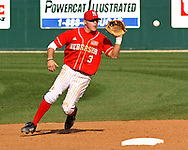 Nebraksa second baseman Jake Opitz gets ready to field a ground ball in the bottom of the ninth against Kansas State.  Nebraska held on to beat Kansas State 5-4 at Tointon Stadium in Manhattan, Kansas, April 1, 2006.