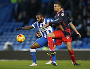 Reading defender Michael Hector and Darren Bent  during the Sky Bet Championship match between Brighton and Hove Albion and Reading at the American Express Community Stadium, Brighton and Hove, England on 26 December 2014.