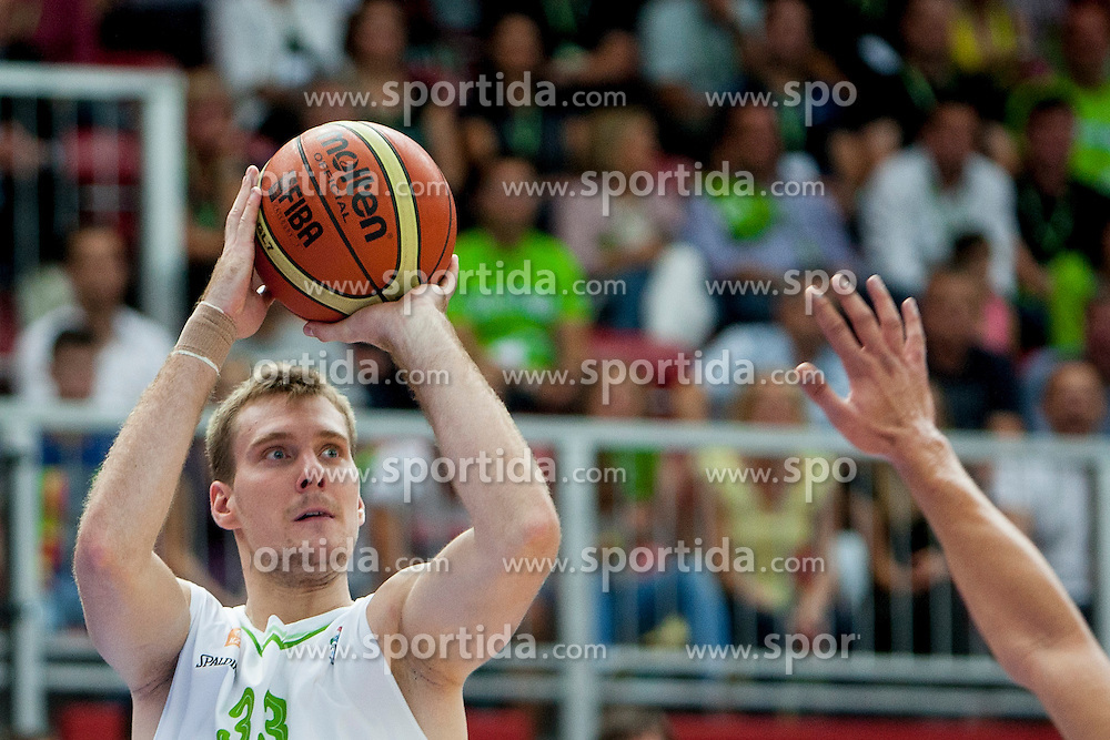 Zoran Dragic of Slovenia during friendly match between National teams of Slovenia and Bosnia and Herzegovina for Eurobasket 2013 on August 16, 2013 in Podmezakla, Jesenice, Slovenia. (Photo by Urban Urbanc / Sportida.com)
