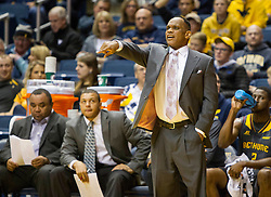 Nov 23, 2015; Morgantown, WV, USA; Bethune-Cookman Wildcats head coach Gravelle Craig calls out a play from the sidelines during the first half against the West Virginia Mountaineers at WVU Coliseum. Mandatory Credit: Ben Queen-USA TODAY Sports