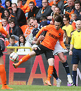 Dundee United's Aidan Connolly and Dundee's Gary Irvine tussle for the ball  - Dundee United v Dundee at Tannadice Park in the SPFL Premiership<br /> <br />  - © David Young - www.davidyoungphoto.co.uk - email: davidyoungphoto@gmail.com