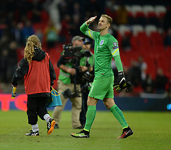 Joe Hart of England (Manchester City) gestures to someone in the crowd. - Photo mandatory by-line: Alex James/JMP - Mobile: 07966 386802 - 15/11/2014 - SPORT - Football - London - Wembley - England v Slovenia - EURO 2016 Qualifier