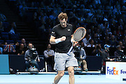 Andy Murray wins a point and clenches his fist during the ATP World Tour Finals at the O2 Arena, London, United Kingdom on 20 November 2015. Photo by Phil Duncan.