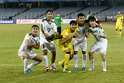 October 11, 2017 - Kolkata, West Bengal, India - Iraq footballer celebrates their win over Chile during the FIFA U 17 World Cup India 2017 Group F match in Kolkata. Player of Iraq and Chile in action during the FIFA U 17 World Cup India 2017 Group F match on October 11, 2017 in Kolkata. (Credit Image: © Saikat Paul/Pacific Press via ZUMA Wire)