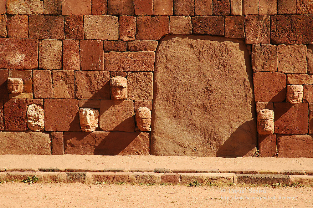 Stone sculpure and architecture at Tihuanacu, La Paz, Bolivia