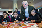 The Labour leader Jeremy Corbyn joins Islington school children at Arsenal's Emirates Stadium in London where he spoke at the Show Racism the Red Card event highlighting race issues and how children can address them. Emirates Stadium, London. United Kingdom. 8th February 2018. <br /> (photo by Andrew Aitchison / In pictures via Getty Images)