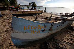 MADAGASCAR ANTSIRANANA 14MAY13 - Small pirogues, wooden outrigger boats lie on the beach at Baie Andovobazaha near Antsiranana, Madagascar.<br /> <br /> <br /> <br /> jre/Photo by Jiri Rezac / Greenpeace
