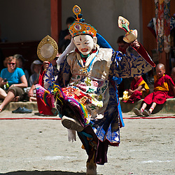 Buddhist monks perform dance and theater in the annual festival at the Phyang Gompa.