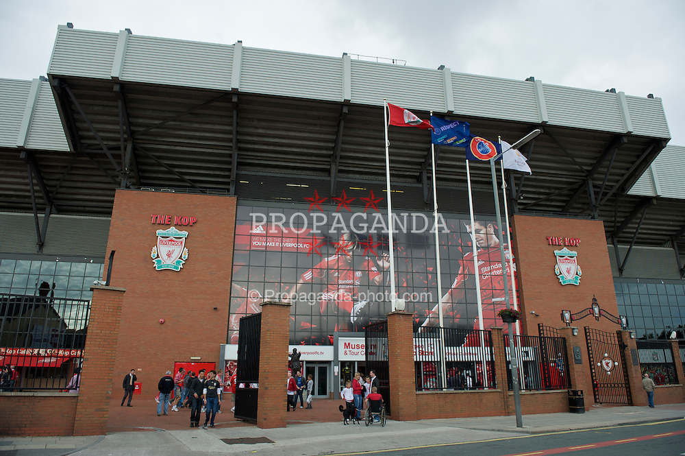 LIVERPOOL, ENGLAND - Thursday, August 5, 2010: A huge banner of Fernando Torres and captain Steven Gerrard MBE hangs on the side of Liverpool's famous Spion Kop advertising the club's new kit at Anfield. (Pic by: David Rawcliffe/Propaganda)