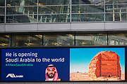 "On the first day of his official 3-day visit to London, the face of Saudi Crown Prince Mohammed bin Salman appears on a large billboard in Holborn, on 7th March 2018, in London England. Industry sources said the Saudis could be spending close to £1m on the city-wide campaign, which includes dozens of prime poster sites around London and newspaper ads. ""He is bringing change to Saudi Arabia,"" the ads say, with a large photo of Crown Prince Mohammed bin Salman and the hashtag #ANewSaudiArabia."