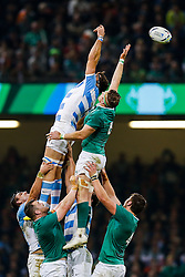 Argentina Flanker Juan Martin Fernandez Lobbe and Ireland Number 8 Jamie Heaslip (capt) compete at the lineout - Mandatory byline: Rogan Thomson/JMP - 07966 386802 - 18/10/2015 - RUGBY UNION - Millennium Stadium - Cardiff, Wales - Ireland v Argentina - Rugby World Cup 2015 Quarter Finals.
