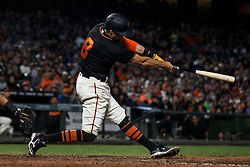 SAN FRANCISCO, CA - AUGUST 05: Hunter Pence #8 of the San Francisco Giants hits a two run home run against the Arizona Diamondbacks during the seventh inning at AT&T Park on August 5, 2017 in San Francisco, California. The San Francisco Giants defeated the Arizona Diamondbacks 5-4 in 10 innings. (Photo by Jason O. Watson/Getty Images) *** Local Caption *** Hunter Pence