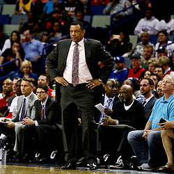 Mar 7, 2016; New Orleans, LA, USA; New Orleans Pelicans head coach Alvin Gentry against the Sacramento Kings during the second quarter of a game at the Smoothie King Center. Mandatory Credit: Derick E. Hingle-USA TODAY Sports