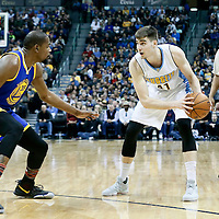 13 February 2017: Golden State Warriors forward Kevin Durant (35) defends on Denver Nuggets forward Juancho Hernangomez (41) during the Denver Nuggets 132-110 victory over the Golden State Warriors, at the Pepsi Center, Denver, Colorado, USA.