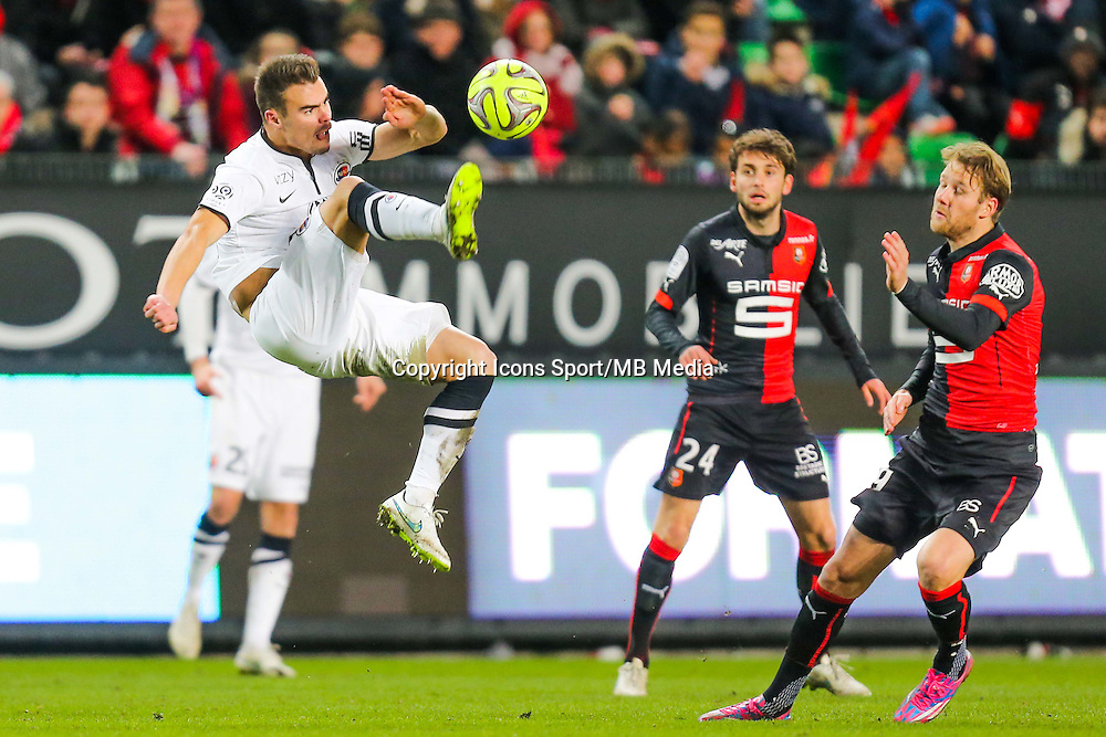Damien DA SILVA / Ola TOIVONEN  - 25.01.2015 - Rennes / Caen  - 22eme journee de Ligue1<br /> Photo : Vincent Michel / Icon Sport *** Local Caption ***