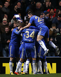 21.02.2013, Stamford Bridge, London, ENG, UEFA Europa League, FC Chelsea vs Sparta Prag, 1. Runde, im Bild Players of Chelsea celebrate Eden Hazard's goal during UEFA Europa League knockout round 1st leg match between Chelsea FC and Sparta Prag at the Stamford Bridge, London, Great Britain on 2013/02/21. EXPA Pictures © 2013, PhotoCredit: EXPA/ Propagandaphoto/ Wang Lili..***** ATTENTION - OUT OF ENG, GBR, UK *****