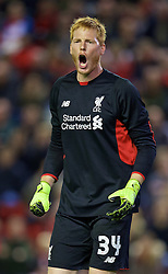 LIVERPOOL, ENGLAND - Wednesday, September 23, 2015: Liverpool's goalkeeper Adam Bogdan in action against Carlisle United during the Football League Cup 3rd Round match at Anfield. (Pic by David Rawcliffe/Propaganda)