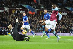 Aston Villa's Christian Benteke misses a onre on one with Leicester City's Kasper Schmeichel - Photo mandatory by-line: Alex James/JMP - Mobile: 07966 386802 - 07/12/2014 - SPORT - Football - Birmignham - Villa Park - Aston Villa v Leicester City - Football