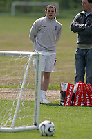 Photo: Paul Thomas.<br /> England Training Session. 01/06/2006.<br /> <br /> Wayne Rooney (L) at training today.