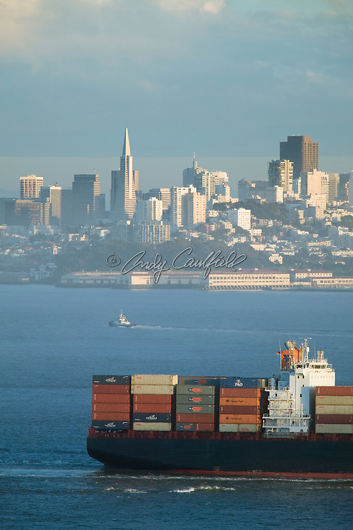 City skyline with container ship-San Francisco Bay, CA
