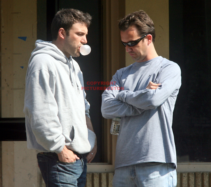 Ben Affleck in and around Boston,Mass. Filming and acting, blows a bubble gum bubble. Photo by Mark Garfinkel