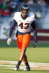 November 20, 2010; Chestnut Hill, MA, USA;  Virginia Cavaliers cornerback Mike Parker (43) lines up for a play against the Boston College Eagles during the third quarter at Alumni Stadium.  Boston College defeated Virginia 17-13.