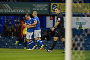 Portsmouth Defender, Matt Clarke (5) scores the opening goal 1-0 turns to celebrate during the EFL Trophy match between Portsmouth and Crawley Town at Fratton Park, Portsmouth, England on 3 October 2017. Photo by Adam Rivers.