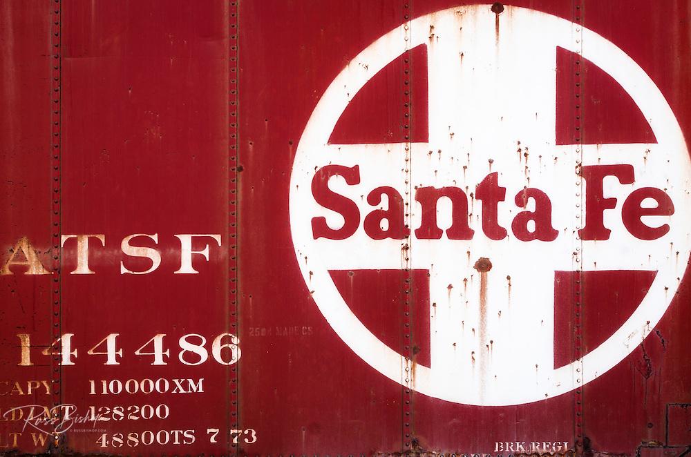 Railroad car at the Santa Fe train depot in Magdalena, New Mexico USA