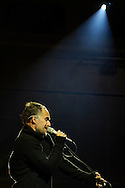 Warsaw, Poland - 2016 December 03: Artur Rojek - leader, composer, songwriter, singer and promoter sings while trial session before Day 2 of the Kwadrofonik Festival at Nowy Teatr on December 03, 2016 in Warsaw, Poland.<br /> <br /> Adam Nurkiewicz declares that he has no rights to the image of people at the photographs of his authorship.<br /> <br /> Picture also available in RAW (NEF) or TIFF format on special request.<br /> <br /> Any editorial, commercial or promotional use requires written permission from the author of image.<br /> <br /> Image can be used in the press when the method of use and the signature does not hurt people on the picture.<br /> <br /> Mandatory credit:<br /> Photo by © Adam Nurkiewicz