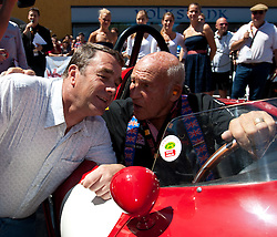 16.07.2011, Groebming, AUT, Ennstal Classic 2011, Chopard Grand Prix, im Bild Nigel Mansell  und Sir Stirling Moss (Ferrari 750 Monza Rennsportwagen, BJ 1955) // during Chopard Grand Prix at the Ennstal Classic 2011 in Groebming, Austria on 16/7/2011. EXPA Pictures © 2011, PhotoCredit: EXPA/ J. Groder