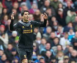 BIRMINGHAM, ENGLAND - Easter Sunday, March 31, 2013: Liverpool's Luis Alberto Suarez Diaz rues a missed chance Aston Villa during the Premiership match at Villa Park. (Pic by David Rawcliffe/Propaganda)