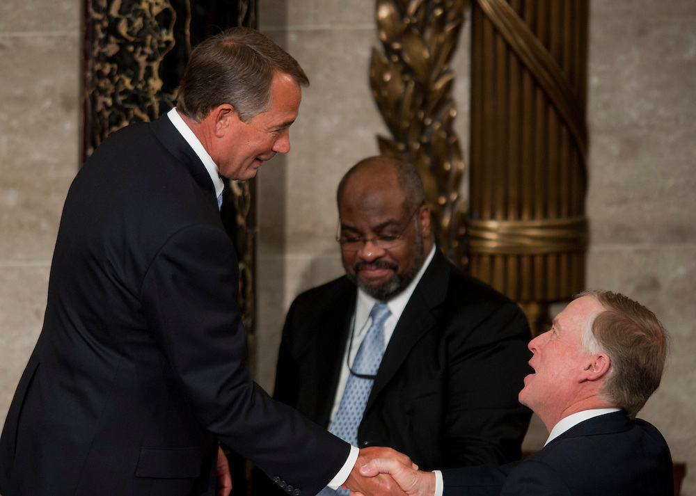 Jan 5, 2011 - Washington, District of Columbia, U.S. -Speaker of the House JOHN BOEHNER (R-OH) is congratulated by former Vice President Dan Quayle  after being sworn in as Speaker of the House of Representatives.(Credit Image: © Pete Marovich/ZUMA Press)