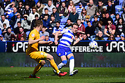 Reading Defender Chris Gunter (2) puts a ball across during the Sky Bet Championship match between Reading and Preston North End at the Madejski Stadium, Reading, England on 30 April 2016. Photo by Jon Bromley.