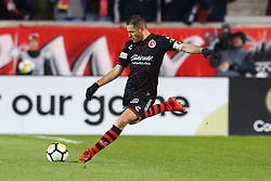 March 13, 2018 - Harrison, NJ, U.S. - HARRISON, NJ - MARCH 13:  Tijuana defender Pablo Aguilar (12) during the second half of the CONCACAF Champions League Quarter-final match between the New York Red Bulls and Club Tijuana on March 13, 2018, at Red Bull Arena in Harrison, NJ.  (Photo by Rich Graessle/Icon Sportswire) (Credit Image: © Rich Graessle/Icon SMI via ZUMA Press)