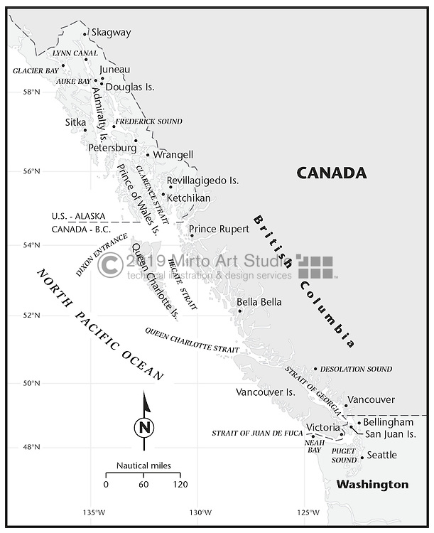 Vector map of the Inside Passage, a water route on the west coast of Canada. British Columbia province.