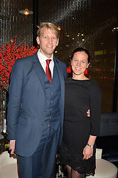 LONDON, ENGLAND 8 DECEMBER 2016: Andrew Hodge, Eeke Triggs-Hodge at the Omega Constellation Globemaster Dinner at Marcus, The Berkeley Hotel, Wilton Place, London England. 8 December 2016.