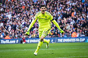 Chelsea goalkeeper Thibaut Courtois (13) celebrate 2nd goal for CFC after Willian (22) score from penalty spot during the The FA Cup semi final match between Chelsea and Tottenham Hotspur at Stamford Bridge, London, England on 22 April 2017. Photo by Sebastian Frej.