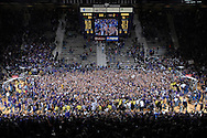 Jan 30, 2008; Manhattan, KS, USA; Kansas State Wildcat fans storm the floor after beating the Kansas Jayhawks for the first time at home since 1983 84-75 at Bramlage Coliseum in Manhattan, KS. Mandatory Credit: Peter G. Aiken-US PRESSWIRE