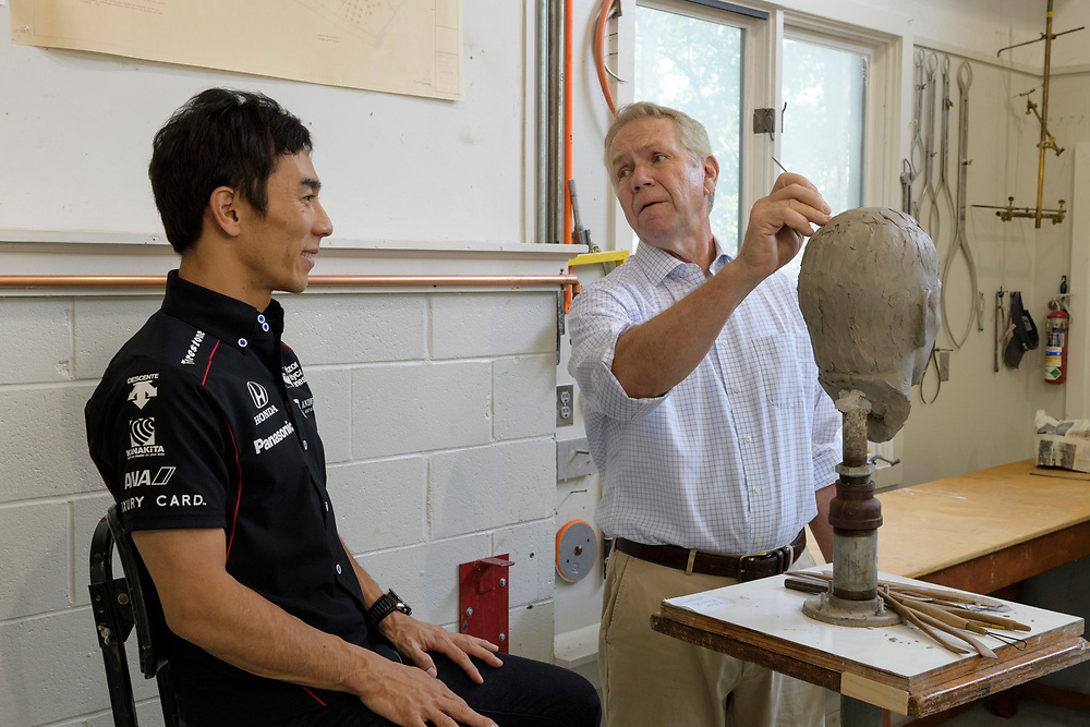 5 September 2017<br /> 2017 Indianapolis 500 winner Takuma Sato sitting for Borg-Warner Trophy bust at William Behrends studio. Tryon, North Carolina USA<br /> &copy;2017, Scott R LePage