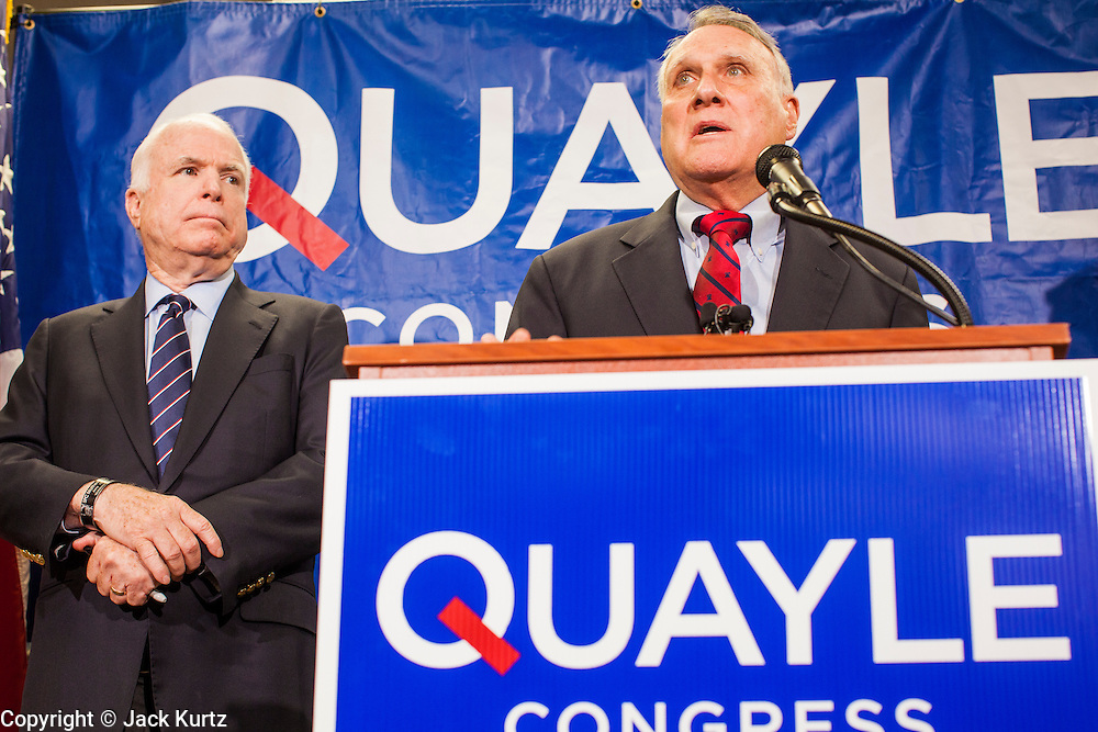 15 AUGUST 2012 - PHOENIX, AZ:   US Senator JOHN MCCAIN, left, and Sen JON KYL (both R-AZ) at a press conference Wednesday. Arizona's Republican US Senators, John McCain and Jon Kyl, announced their endorsement of Congressman Ben Quayle (R-AZ) during a press conference in Phoenix Wednesday. They decried the campaign being run by Quayle's opponent, Congressman David Schweikert (R-AZ). Both Quayle and Schweikert are freshman Congressmen from neighboring districts. They were thrown into the same district during the redistricting process and are now waging a bitter primary fight against each other. PHOTO BY JACK KURTZ