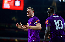 LONDON, ENGLAND - Saturday, November 3, 2018: Liverpool's captain James Milner celebrates scoring the first goal during the FA Premier League match between Arsenal FC and Liverpool FC at Emirates Stadium. The game ended in a 1-1 draw. (Pic by David Rawcliffe/Propaganda)