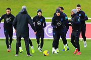 England forward Jadon Sancho and team mates during the England football team training session at St George's Park National Football Centre, Burton-Upon-Trent, United Kingdom on 13 November 2019.