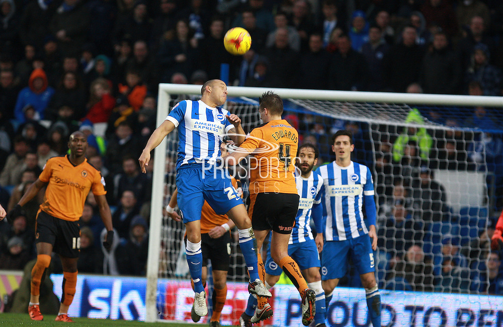 Brighton striker Bobby Zamora  & Wolverhampton Wanderers midfielder David Edwards compete for a high ball during the Sky Bet Championship match between Brighton and Hove Albion and Wolverhampton Wanderers at the American Express Community Stadium, Brighton and Hove, England on 1 January 2016. Photo by Bennett Dean.