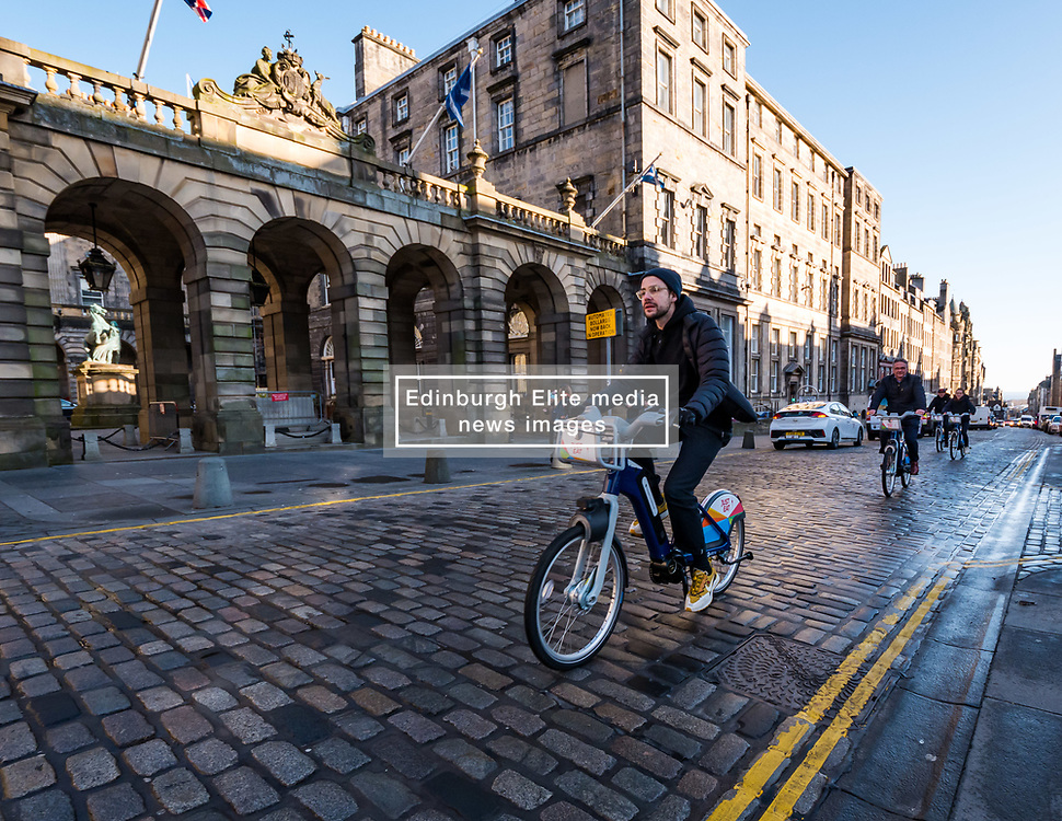 City Chambers, Edinburgh, Scotland, United Kingdom, Just Eat E-bikes: A new fleet of 163 rentable e-bikes are launched and integrated into the capital's existing cycle hire scheme by Just Eat Cycles. Edinburgh will now have the largest docked e-bike fleet in UK. <br /> Sally Anderson | EdinburghElitemedia.co.uk