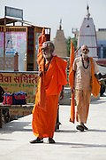 A Sadhu (yogi) holy man at the Embankment of the Ganges River at the holy city of Garhmukteshwar, Uttar Pradesh, India