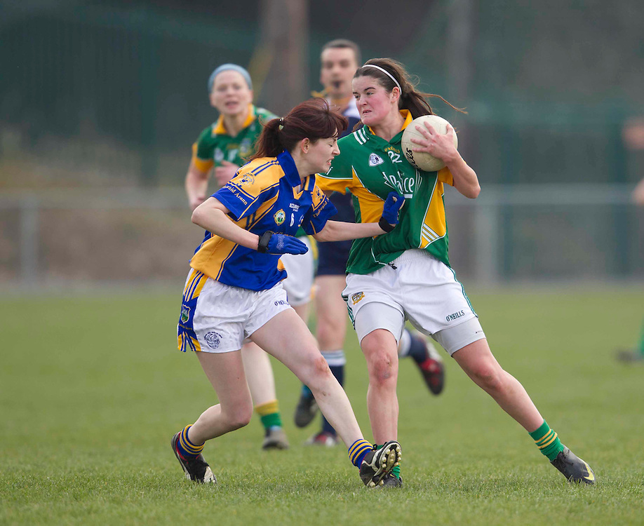 Meath vs Tipperary, Ladies NFL, Division 2 at Seneschalstown GFC_27th March 2011.Vivienne McCormack (meath) & Celia Carew (Tipperary).Photo: David Mullen /www.cyberimages.net