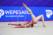 Jovenin Axelle during the qualification of the hoop at the Pesaro World Cup 2018.<br /> She is a French gymnast born in Lille in 2000. Her dream is to participate in the 2020 Olympic Games in Tokyo.